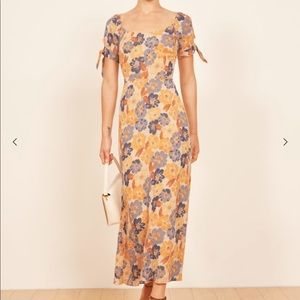Reformation Meredith Yellow Floral Midi Dress 6